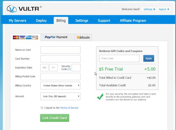 Vultr enter billing information credit card.